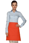 Style 110 Professional Half Bistro Apron with Center-Divided Pocket - Orange