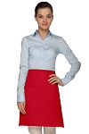 Style 110 Professional Half Bistro Apron with Center-Divided Pocket - Red