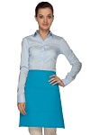 Style 110 Professional Half Bistro Apron with Center-Divided Pocket - Turquoise