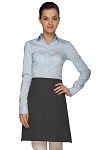Style 110 Professional Half Bistro Apron with Center-Divided Pocket - Charcoal Gray