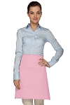 Style 110 Professional Half Bistro Apron with Center-Divided Pocket - Pink
