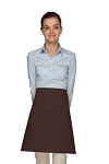 Style 111 Professional One Pocket Half Bistro Apron - Brown