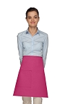 Style 111 Professional One Pocket Half Bistro Apron - Hot Pink