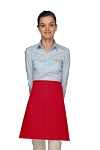 Style 111 Professional One Pocket Half Bistro Apron - Red