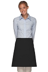 Style 115 Professional Two Patch Pocket Half Bistro Apron - Black