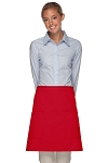 Style 115 Professional Two Patch Pocket Half Bistro Apron - Red