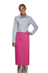 Style 120I Professional One Inset Pocket Full Length Bistro Apron - Hot Pink