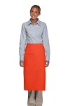 Style 120 Professional One Pocket Full Length Bistro Apron - Orange