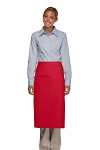 Style 120 Professional One Pocket Full Length Bistro Apron - Red