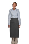 Style 120 Professional One Pocket Full Length Bistro Apron - Charcoal Gray