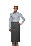 Style 123 Professional Three Pocket Full Length Bistro Apron - Charcoal Gray