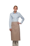 Style 128 Professional Full Bistro Apron with center divided pocket - Khaki