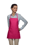 Style 215 EXTRA SMALL Professional Promo Two Pocket Bib Apron - Hot Pink