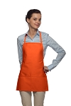 Style 215 EXTRA SMALL Professional Promo Two Pocket Bib Apron - Orange