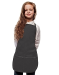 Style 250 High Quality Two Pocket Kids Bib Aprons - Charcoal Gray