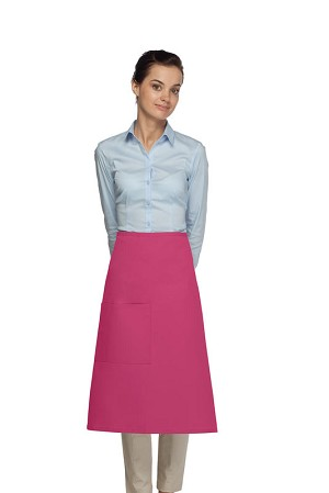 Style 118 Professional One Pocket 3/4 Bistro Apron - Hot Pink