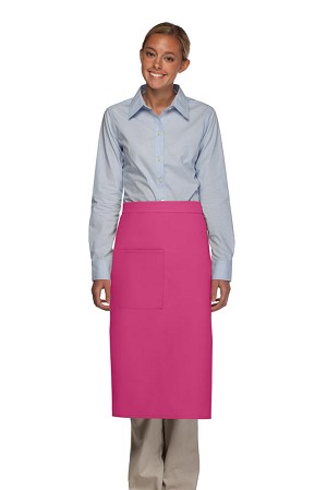 Style 120 Professional One Pocket Full Length Bistro Apron - Hot Pink