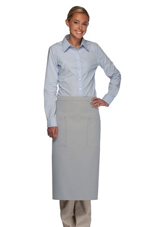 Style 122 Professional Two Pocket Full Length Bistro Apron - Silver Gray