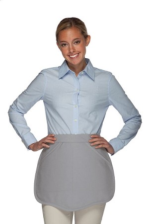 Style 130R Professional Two Pocket Reversible Scalloped Waist Apron - Silver Gray